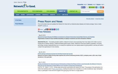 Screenshot of Press Page networkforgood.org - Press Room | Network for Good - captured Sept. 16, 2014