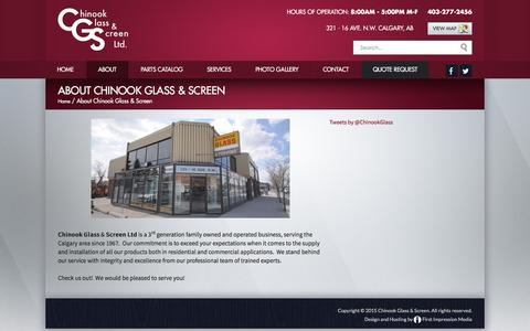 Screenshot of About Page chinookglass.com - Chinook Glass Screen Ltd. Chinook Glass & Screen - Learn More About Our History In Calgary - captured Dec. 8, 2015
