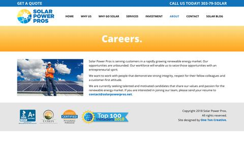 Screenshot of Jobs Page solarpowerpros.net - Solar Power Pros |   Careers - captured Oct. 18, 2018