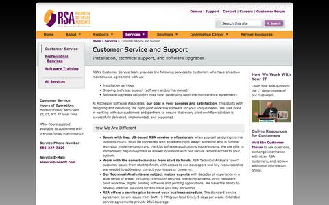Screenshot of Services Page Support Page rocsoft.com - Rochester Software Associates Customer Service and Support for digital print workflow automation software - captured Dec. 1, 2016