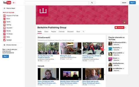 Screenshot of YouTube Page youtube.com - Berkshire Publishing Group  - YouTube - captured Oct. 23, 2014