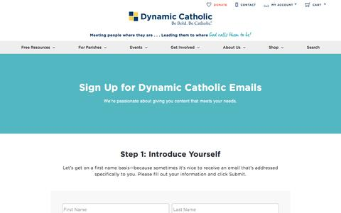 Screenshot of Signup Page dynamiccatholic.com - Email Sign-Up | Dynamic Catholic - captured Oct. 15, 2017