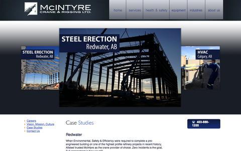 Screenshot of Case Studies Page mcintyrecrane.ca - McIntyre Crane - Case Studies - captured Oct. 27, 2014