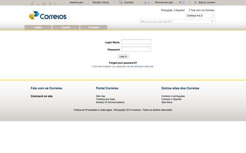 Screenshot of Login Page correios.com.br - Correios: encomendas, rastreamento, telegramas, cep, cartas, selos, agências e mais! - captured Oct. 28, 2014