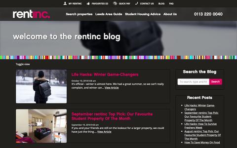 Screenshot of Blog rentinc.co.uk - Blog | Rentinc - All inclusive student accommodation leeds - Blog | Rentinc - captured Oct. 20, 2018