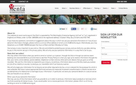 Screenshot of Privacy Page menta.org.uk - Privacy | Menta - captured Oct. 3, 2014