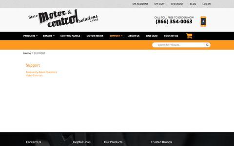 Screenshot of Support Page motorsandcontrol.com - Support - captured July 9, 2018