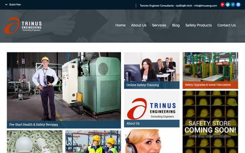Screenshot of Home Page trinuseng.com - Trinus Engineering A Pre-Start Health and Safety Reviews Specialist - captured Aug. 16, 2015