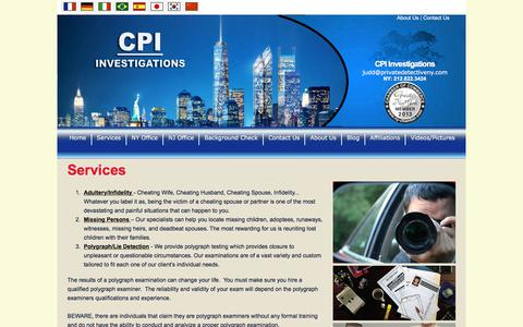 Screenshot of Services Page privatedetectiveny.com - Private Investigation Services - captured Sept. 25, 2018