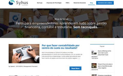 Screenshot of Blog syhus.com.br - Blog de Contabilidade - Syhus - Escritório de Contabilidade especializado em startups e empresas de tecnologia - captured Jan. 12, 2017