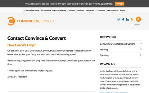 Screenshot of Contact Page convinceandconvert.com - Contact Convince & Convert | Convince and Convert: Social Media Consulting and Content Marketing Consulting - captured Jan. 16, 2020