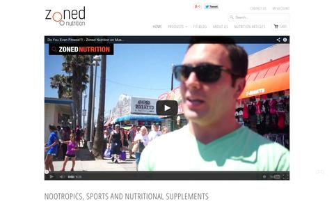 Screenshot of Home Page zonednutrition.com - Nootropics   Nutritional and Sports Supplements   Zoned Nutrition - captured Sept. 17, 2014