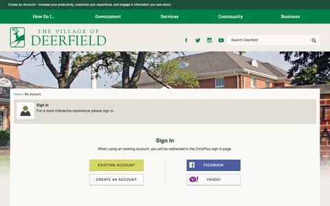 Screenshot of Login Page deerfield.il.us - Deerfield, IL - captured Oct. 18, 2018