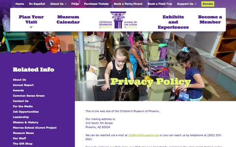 Screenshot of Privacy Page childrensmuseumofphoenix.org - Children's Museum of Phoenix   Children�s Museum of Phoenix   Phoenix Children, Kids in Phoenix, Kids Museum Phoenix - captured Nov. 23, 2015