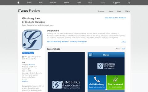 Screenshot of iOS App Page apple.com - Ginsburg Law on the App Store on iTunes - captured Nov. 2, 2014