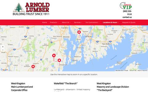Screenshot of Contact Page Locations Page arnoldlumber.com - Locations - Arnold Lumber - captured Oct. 8, 2017