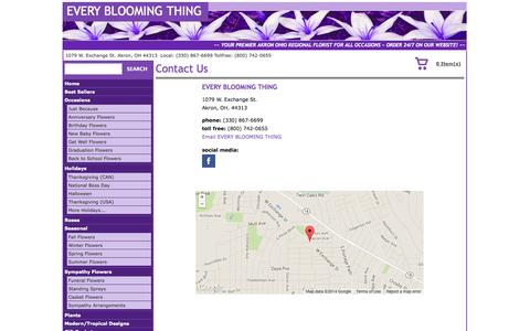 Screenshot of Contact Page ebtfloral.com - Contact EVERY BLOOMING THING - Akron, OH Florist & Flower Shop - captured Oct. 3, 2014