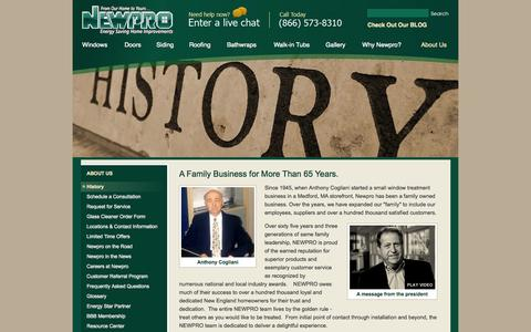 Screenshot of About Page newpro.com - A Family Business for More Than 65 Years. - captured Oct. 7, 2014