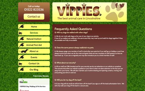 Screenshot of FAQ Page vippies.co.uk - Frequently Asked Questions - VIPPIES Pet Services - The best animal care in Lincolnshire - captured Oct. 26, 2018