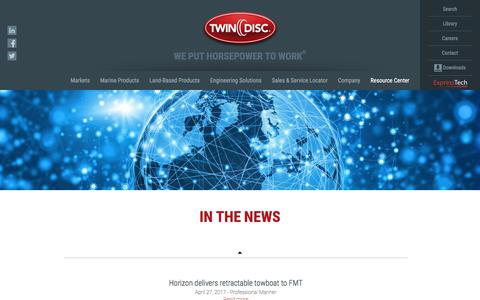 Screenshot of Press Page twindisc.com - News & Updates - About Us | Twin Disc - captured June 17, 2017