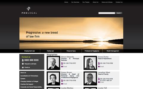 Screenshot of Team Page prolegal.co.uk - Biographies - www.prolegal.co.uk - captured Sept. 30, 2014