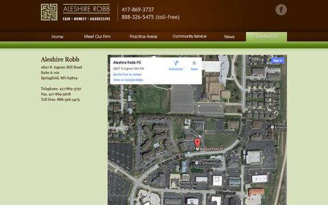 Screenshot of Maps & Directions Page aleshirerobb.com - Maps and Directions - captured Sept. 30, 2014