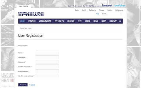 Screenshot of Signup Page barracloughandstiles.com - Barraclough and Stiles Opticians - captured Oct. 5, 2014