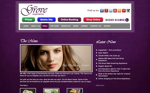 Screenshot of Menu Page groveexperience.co.uk - Hair Salons in Eastbourne East Sussex - captured Oct. 7, 2014