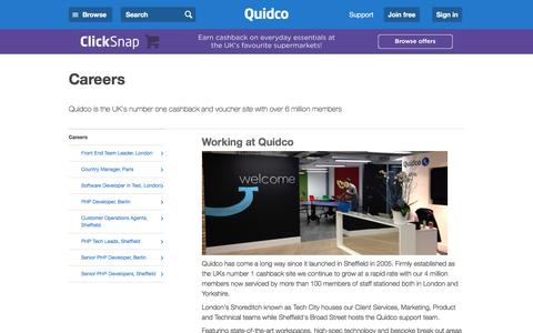 Screenshot of Jobs Page quidco.com - Careers | Quidco - captured July 14, 2016