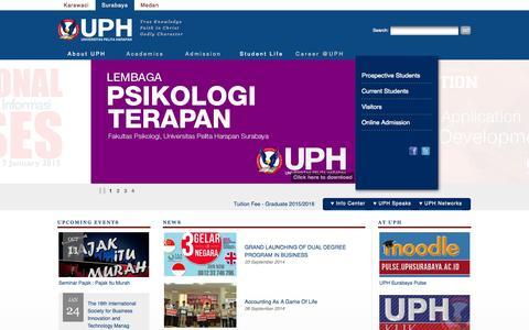 Screenshot of Home Page uphsurabaya.ac.id - Universitas Pelita Harapan - captured Oct. 7, 2014