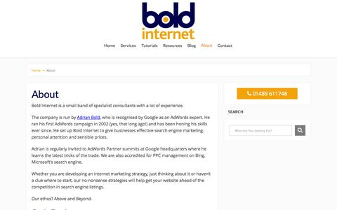 Screenshot of About Page boldinternet.co.uk - About - Bold Internet Ltd - captured Oct. 1, 2014