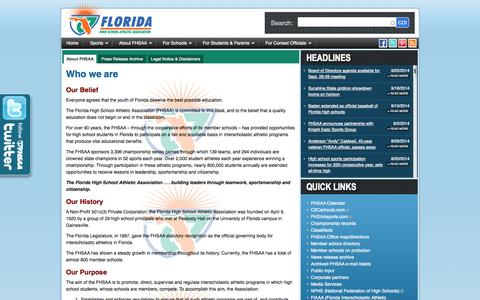 Screenshot of About Page fhsaa.org - FHSAA.org | About - captured Sept. 23, 2014