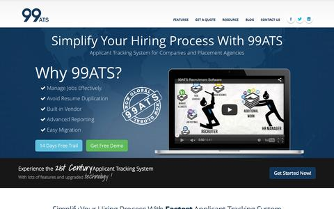 Screenshot of Home Page 99ats.com - Cloud based applicant tracking system – Manage jobs, Resumes, candidates – simplify your hiring process. - captured Sept. 12, 2015