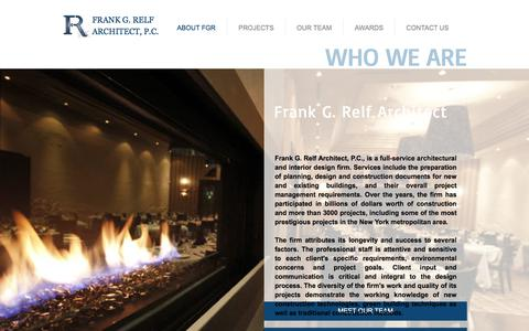 Screenshot of About Page fgrelf.com - Frank G. Relf Architect - Home | ABOUT FGR - captured Oct. 14, 2017