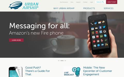 Screenshot of Home Page urbanairship.com - Urban Airship | Mobile Marketing Solutions - captured July 11, 2014