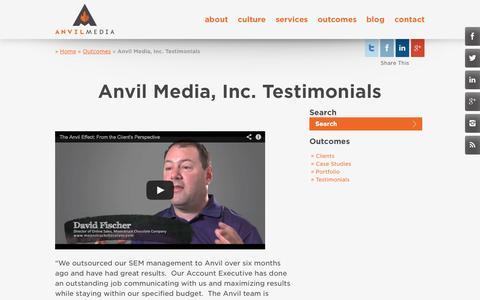 Screenshot of Testimonials Page anvilmediainc.com - Integrated Marketing Client Testimonials   Anvil Media Inc. - captured Oct. 10, 2014