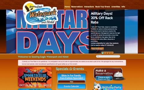 Screenshot of Home Page soaringeaglewaterpark.com - Your Family Fun-Cation Destination!   Michigan Indoor Water Park - captured Oct. 6, 2014