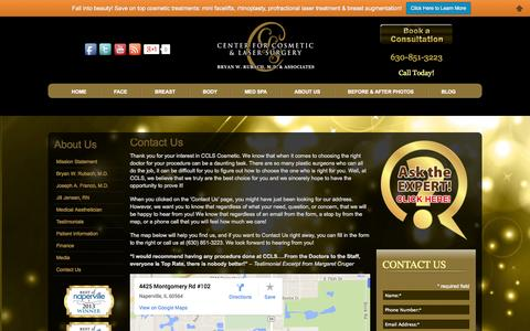 Screenshot of Contact Page cclscosmetic.com - Contact Center For Cosmetic & Laser Surgery in Naperville, Chicago - captured Oct. 2, 2014