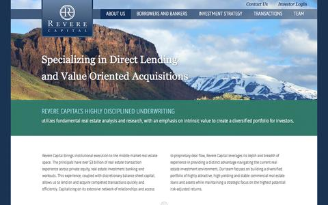 Screenshot of Home Page About Page reverecapital.com - Home | Revere Capital - captured Oct. 6, 2014