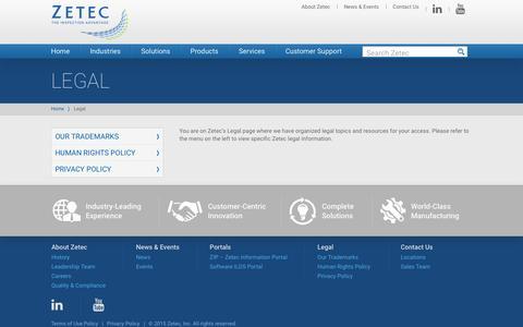 Screenshot of Terms Page zetec.com - Legal - Zetec - captured Feb. 24, 2016