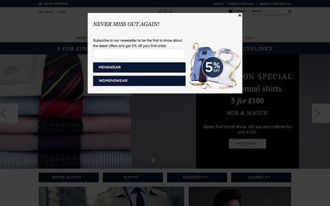 Screenshot of Home Page hawesandcurtis.co.uk - Mens Shirts | Formal Shirts | Mens Formal Shirts - Hawes & Curtis - captured Oct. 1, 2015