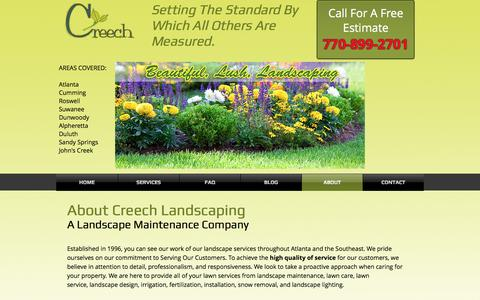 Screenshot of About Page creechlandscape.com - Creech Landscape-A Landscape Maintenance Company | ABOUT - captured May 23, 2017