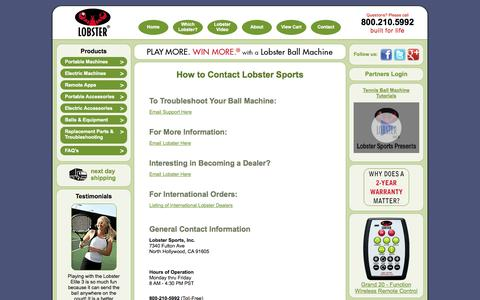Screenshot of Contact Page lobstersports.com - Contact Us - captured Oct. 2, 2014