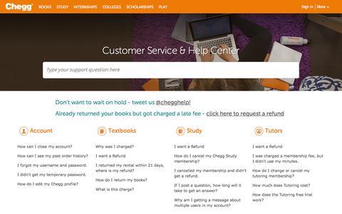 Screenshot of Contact Page chegg.com - Chegg Customer Service Phone Number & Help Center | Chegg.com - captured June 17, 2015