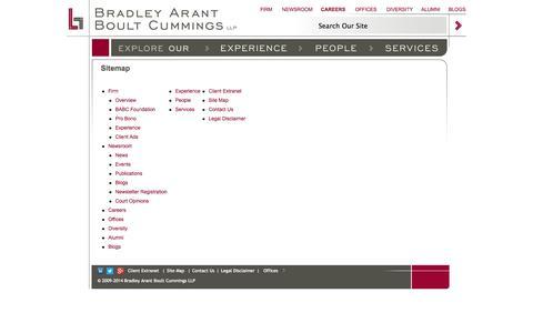 Screenshot of Site Map Page babc.com - Sitemap |   Bradley Arant Boult Cummings - captured Oct. 5, 2014