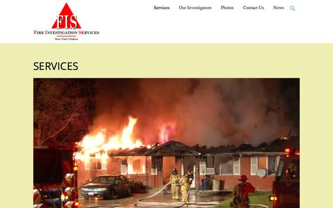 Screenshot of Services Page fireinv.com - Services – Fire Investigation Services - captured Nov. 25, 2016