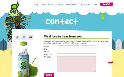 Screenshot of Contact Page gococodrinks.com - contact - captured Oct. 2, 2014