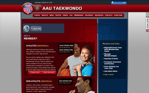Screenshot of Signup Page aautaekwondo.org - AAU Taekwondo > Membership > Sign Up - captured Oct. 4, 2014