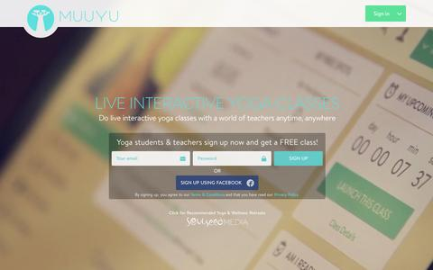 Screenshot of Home Page muuyu.com - Muuyu : Live Online Yoga Classes - captured Oct. 16, 2015