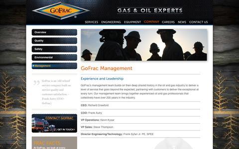 Screenshot of Team Page gofrac.com - GoFrac Oil & Gas Hydraulic Fracturing - captured Oct. 2, 2014
